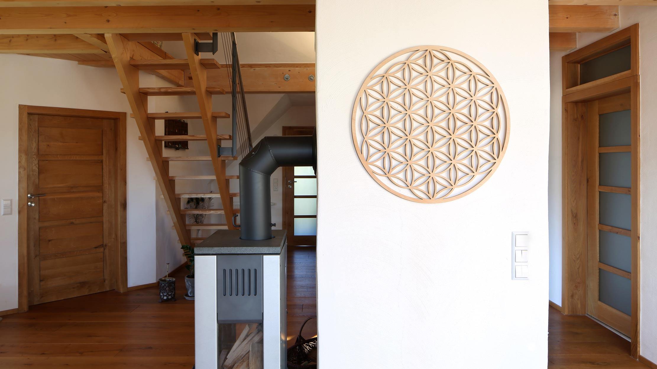 Wohnraum Blume des Lebens Holz